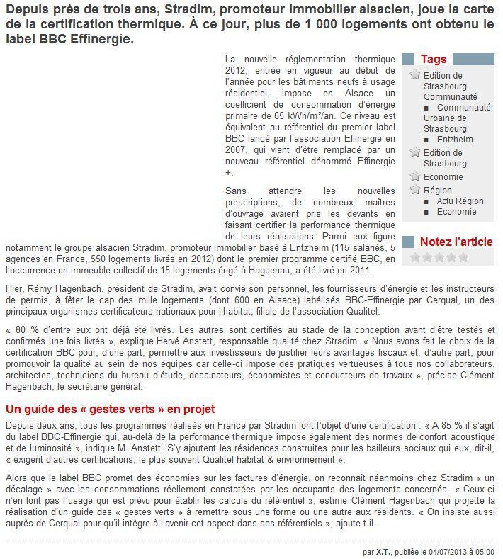 1000 ème logement Stradim certifié Cerqual